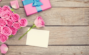 Picture valentine`s day, love, roses, wood, sweet, pink, gift, romantic, roses, petals