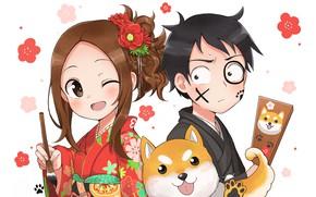 Picture anime, boy, art, girl, white background, Karakai Jouzu no Takagi-san