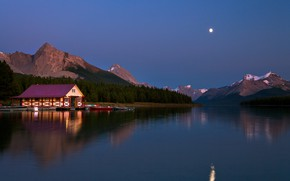 Wallpaper the sky, Kevin McNeal, mountains, the evening, lake, boats
