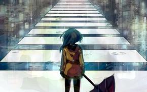 Picture girl, rain, umbrella, crosswalk, by Piiy
