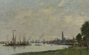 Picture landscape, the city, ships, picture, harbour, Eugene Boudin, Eugene Boudin, Antwerp. Port. View to the …