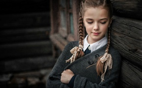 Picture makeup, girl, braids, Sergey Piltnik