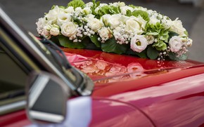 Picture white roses, red car, wedding bouquet