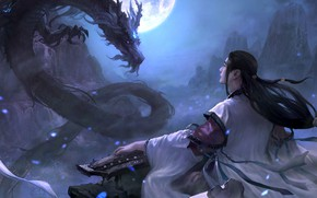 Picture 2D ConceptArt, location, the game, magic, art, fantasy, dragon, bard, Moky lin