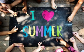 Picture summer, children, the inscription, figure, hands