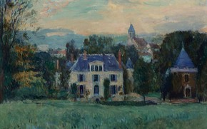 Picture landscape, house, picture, The House of Paulin, Albert Charles Lebar, Albert Lebourg