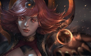 Picture girl, fantasy, Lux, league of legends, to ChubyMi, Fire Element