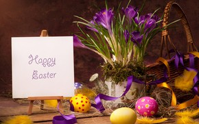 Picture basket, eggs, feathers, Easter, crocuses, Easter