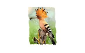 Picture bee, bird, beak, log