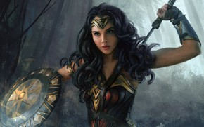 Wallpaper sword, fantasy, Wonder Woman, weapons, artwork, amazon, superhero, shield, warrior, paintig, fantasy art, DC Comics, ...