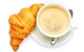 Wallpaper croissant, the view from the top, Cup, drink, coffee, saucer, white background, spoon