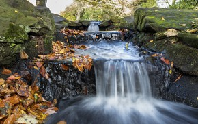 Wallpaper nature, leaves, autumn, stones, waterfall