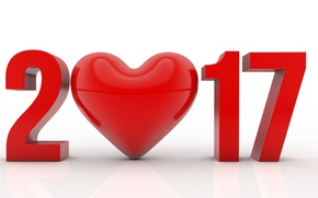 Wallpaper heart, 2017, the number, holiday, figures, rendering
