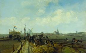 Picture tree, oil, picture, Charles Rochussen, The Racecourse in Scheveningen