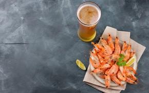 Picture lemon, beer, shrimp, seafood