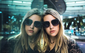 Picture face, reflection, Girls, glasses