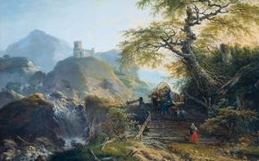 Picture landscape, tree, oil, picture, Gerard van Nijmegen, Mountain Landscape with Carters, A cart on a …