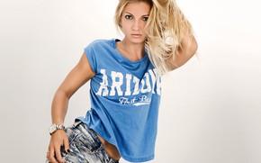 Wallpaper hair, model, t-shirt, background, shorts, pose, style