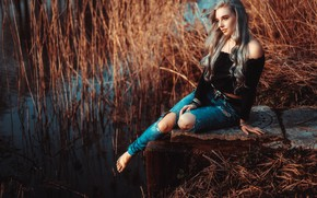 Picture water, pose, mood, model, jeans, reed, long hair, Loba, Andreas-Joachim Lins
