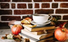 Picture tea, books, Apple, drink