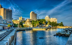 Wallpaper the sky, pier, water, Japan, trees, home, Sunny, Wakayama, HDR