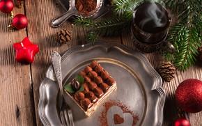 Picture balls, tea, heart, tree, new year, cake, plug, cocoa