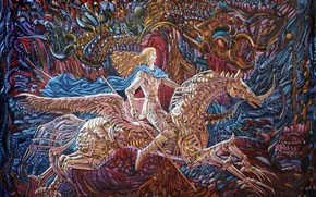Picture Valkyrie, Aibek Begalin, woman on the horse, Two thousand two
