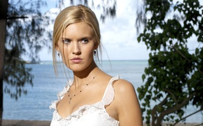 Picture look, trees, pose, background, actress, blonde, Maggie Grace, trees, background, view, hair, blonde, pose, actress, …