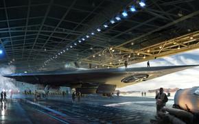 Picture hangar, camera, staff, Manta ship in hangar, Manta Project
