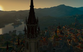 Wallpaper lake, Bokler, The Witcher 3: Blood and Wine, tower, France, home, sunset