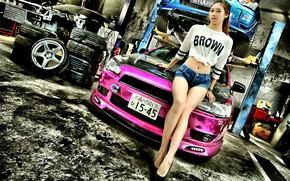 Picture auto, look, Girls, garage, Mitsubishi, Asian, beautiful girl