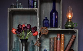 Wallpaper flowers, vase, key, books, lamp, tulips, rusty, kerosene stove, bottle, boxes, fire
