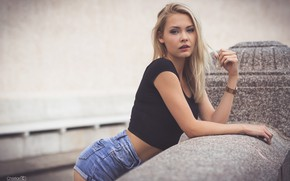 Picture pose, model, shorts, portrait, makeup, Mike, hairstyle, blonde, the parapet, bokeh