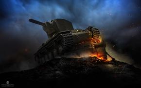 Picture night, fire, smoke, power, art, sparks, tank, armor, USSR, heavy, Soviet, KV-2, World of Tanks, …