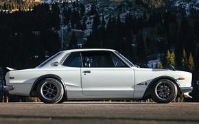 Picture Auto, White, Machine, Nissan, Nissan, Lights, Car, 2000, Skyline, Nissan Skyline, 1972, 2000GT, Japanese, Side …