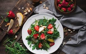 Picture food, strawberry, nuts, pear, salad, arugula, arugula