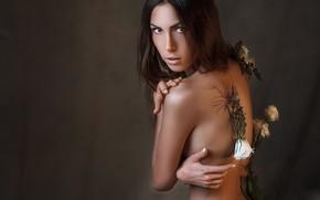 Picture look, flowers, face, pose, style, background, mood, back, portrait, hands, Alexander Drobkov-Light, Nelia Pirozhkova