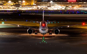 Picture night, lights, the airfield, Boeing 777-300ER
