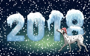 Picture Snow, New year, Winter, Minimalism, The Year Of The Dog, 2018, Holiday, Dog, Mood, Background