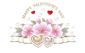 Picture flowers, heart, graphics, Valentine's Day
