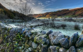 Wallpaper stones, valley, HDR, hills, Lake District National Park, moss, trees, England, Cumbria, winter, mountains, snow, ...