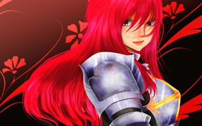 Wallpaper mahou, red, anime, redhead, Fairy Tail, armor, japonese, manga, madoshi, red hair, Erza