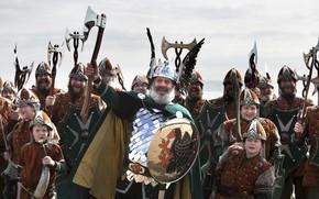 Picture axe, sword, armor, crown, boy, ken, blade, cosplay, viking, shield, kid, pearls, cosplayers