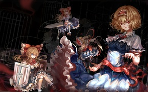 Picture doll, sword, Shanghai, shit, bow, touhou, art, ruffles, blue dress, Alice Margatroid, Touhou Project, puppets, …