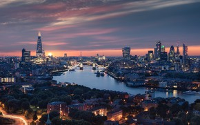 Picture river, England, London, panorama, Thames, night city, Tower bridge, Tower Bridge, London, England, Thames River