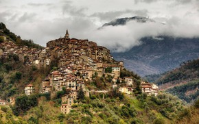 Picture mountains, home, Italy, Italy, Liguria, Liguria, Apricale, Apricale