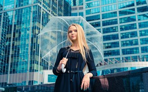 Picture look, posing, manicure, in black, blonde, home, umbrella, the city, hairstyle, makeup, is, girl, building, …