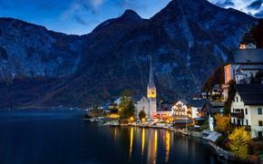 Picture autumn, forest, trees, mountains, lights, lake, rocks, shore, home, the evening, Austria, Hallstatt, Hallstatt