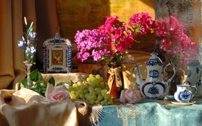 Picture flowers, grapes, still life, icon, Gzhel