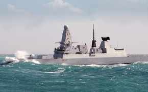 Picture wave, storm, England, Navy, squadron, destroyer, Daring